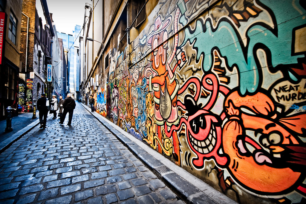 Melbourne's small alleys are often covered in street art, however are well kept and inviting, a fair few features cafes, bars and nightclubs. Image By Fernando de Sousa at Flickr. https://www.flickr.com/photos/fernando/