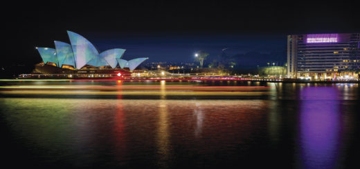 Vivid Sydney 2015, Lighting the sails, Opera House photographed from the OPT. 25/5/2015. Photo Credit - James Horan/Destination NSW